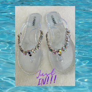 SZ 6 Clear Jewelled Irradescent Jelly PVC Sandal